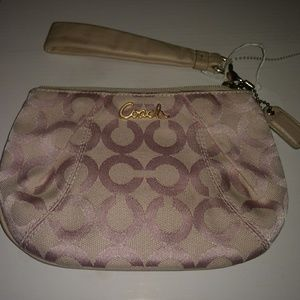 Coach Pale Pink Wristlet with Leather Strap